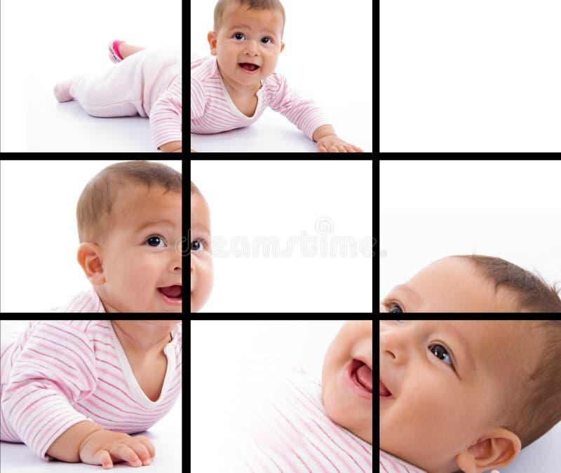 Photomontage de la sonrisa adorable joven del bebé imagenes de archivo