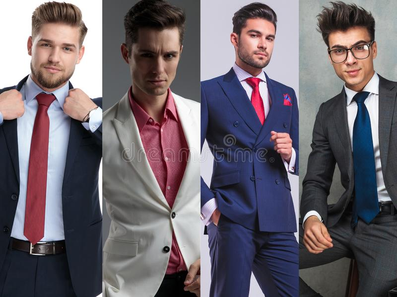 Photomontage de quatro homens novos consideráveis que vestem ternos foto de stock royalty free