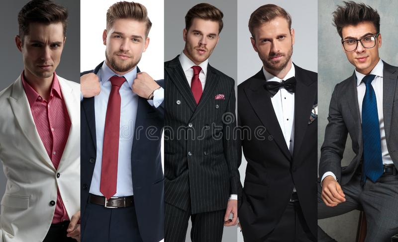 Photomontage of five different elegant young man royalty free stock photos