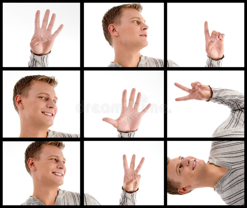 Photomontage Of Handsome Man With Hand Gestures Royalty Free Stock Photos