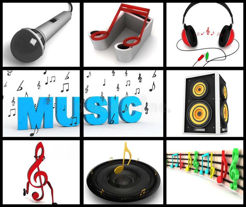 Download Photomontage Of Musical Equipments Stock Illustration - Illustration of element, headphone: 7240298