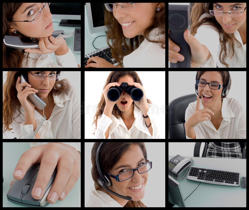 Photomontage of working woman