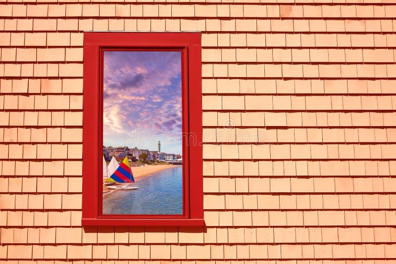 Photomount miliampère da janela de Cape Cod Provincetown imagens de stock