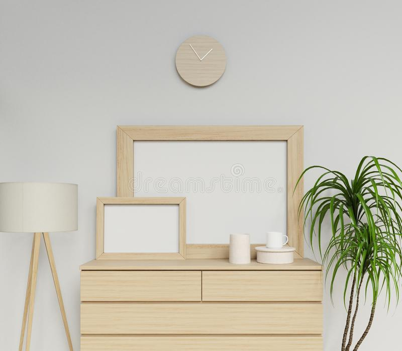 photoreal перевод 3d уютного скандинавского интерьера с пустой насмешкой плаката a1 и a3 вверх по шаблону с деревянной рамкой сид иллюстрация вектора