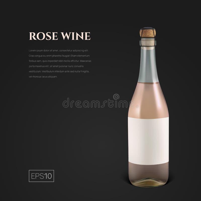 Photorealistic бутылка розового игристого вина на черной предпосылке иллюстрация штока