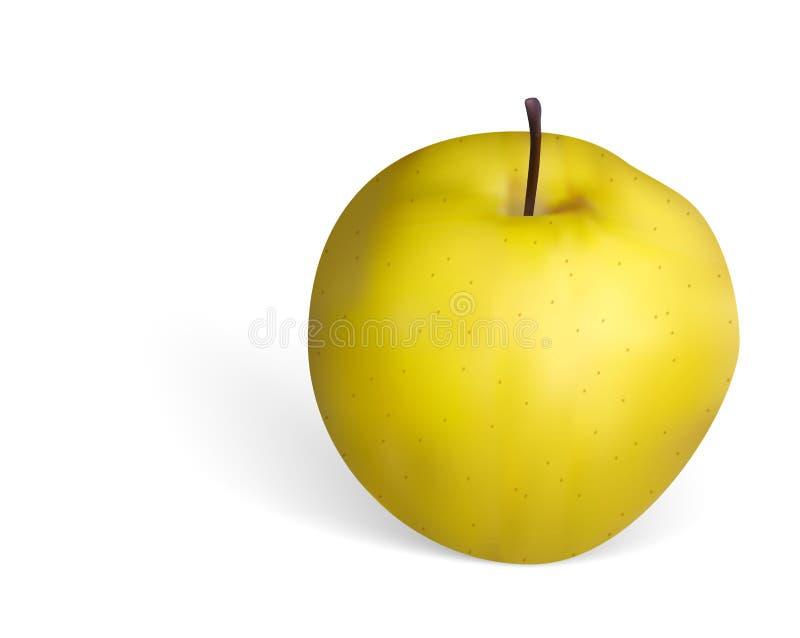Вектор photorealistic золотистого яблока на белой предпосылке бесплатная иллюстрация