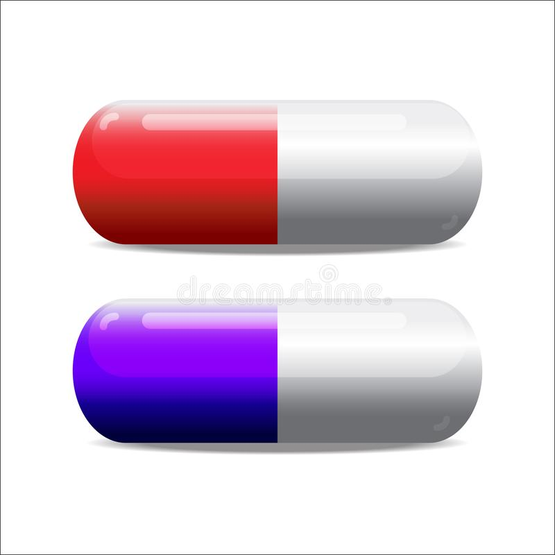Photorealistic blue and red pills. Rasterized copy. Is a general illustration royalty free illustration