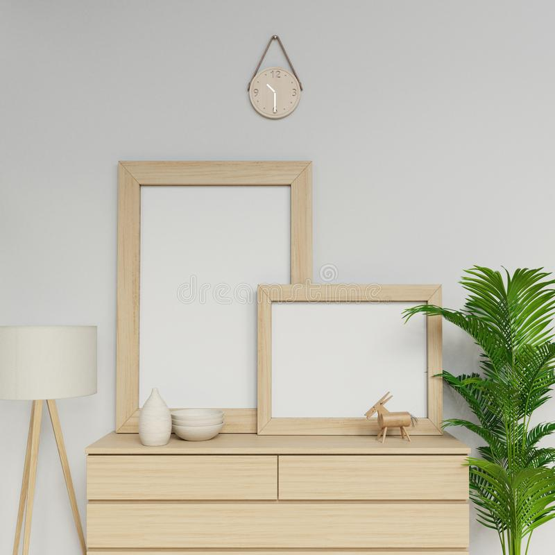 Photorealistic 3d render of simple scandinavian house interior with two a1 and a2 empty poster mockup template with wooden frame stock illustration