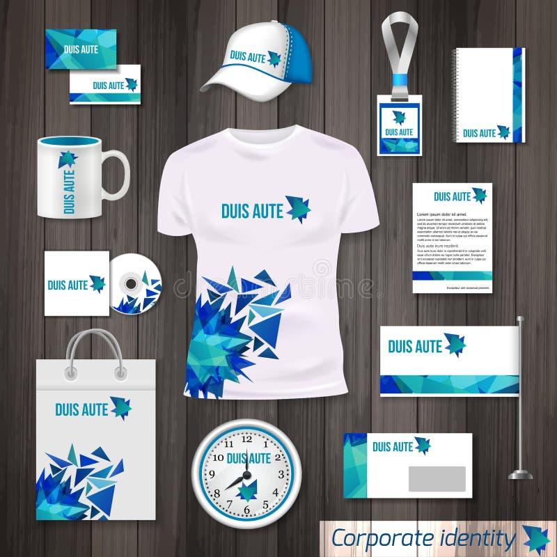 Photorealistic Designschablone des Unternehmensidentitä5sgeschäfts Klassisches blaues Briefpapierschablonendesign Uhr, T-Shirt, K stock abbildung