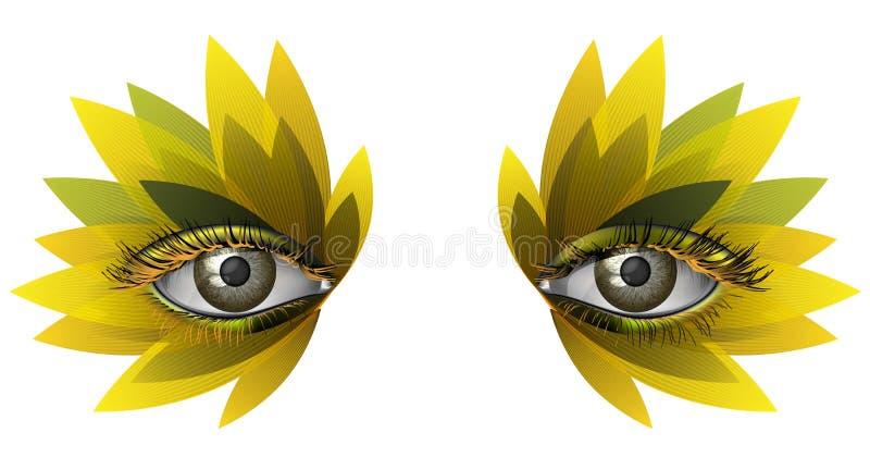 Photorealistic eye artistic sunflower makeup close up. Realistic female eye close up artistic makeup - yellow sunflower