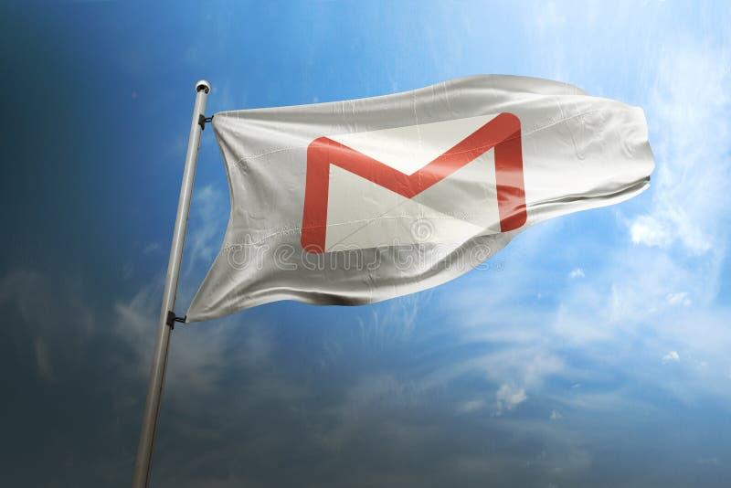 Photorealistic Flaggenleitartikel Gmail lizenzfreie stockfotos