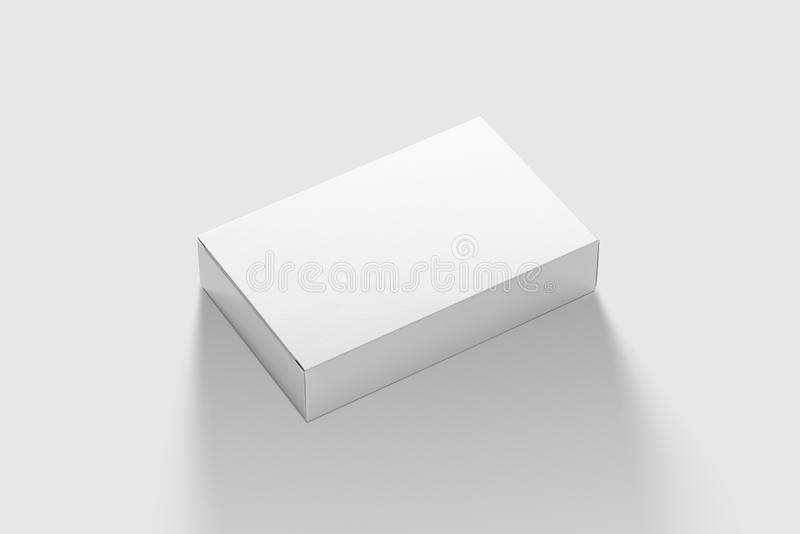 Photorealistic Flat Rectangle Cardboard Package Box Mockup on light grey background. 3D illustration. Mockup template ready for your design royalty free illustration