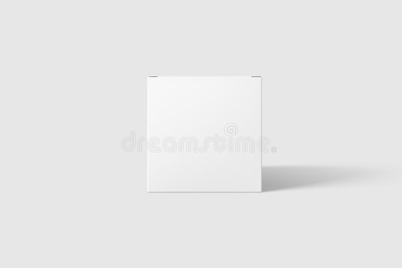 Photorealistic Flat Rectangle Cardboard Package Box Mockup on light grey background. stock photography