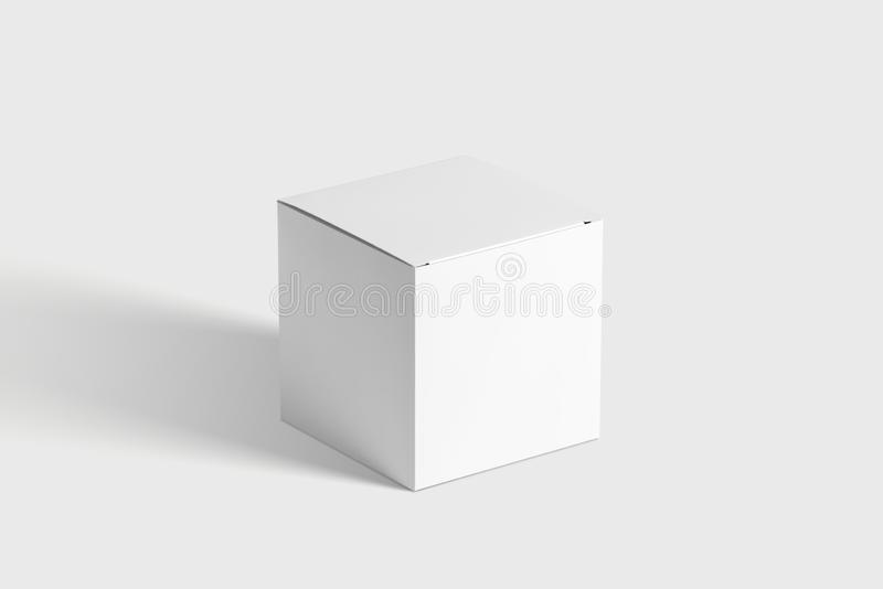Photorealistic Flat Rectangle Cardboard Package Box Mockup on light grey background. stock images