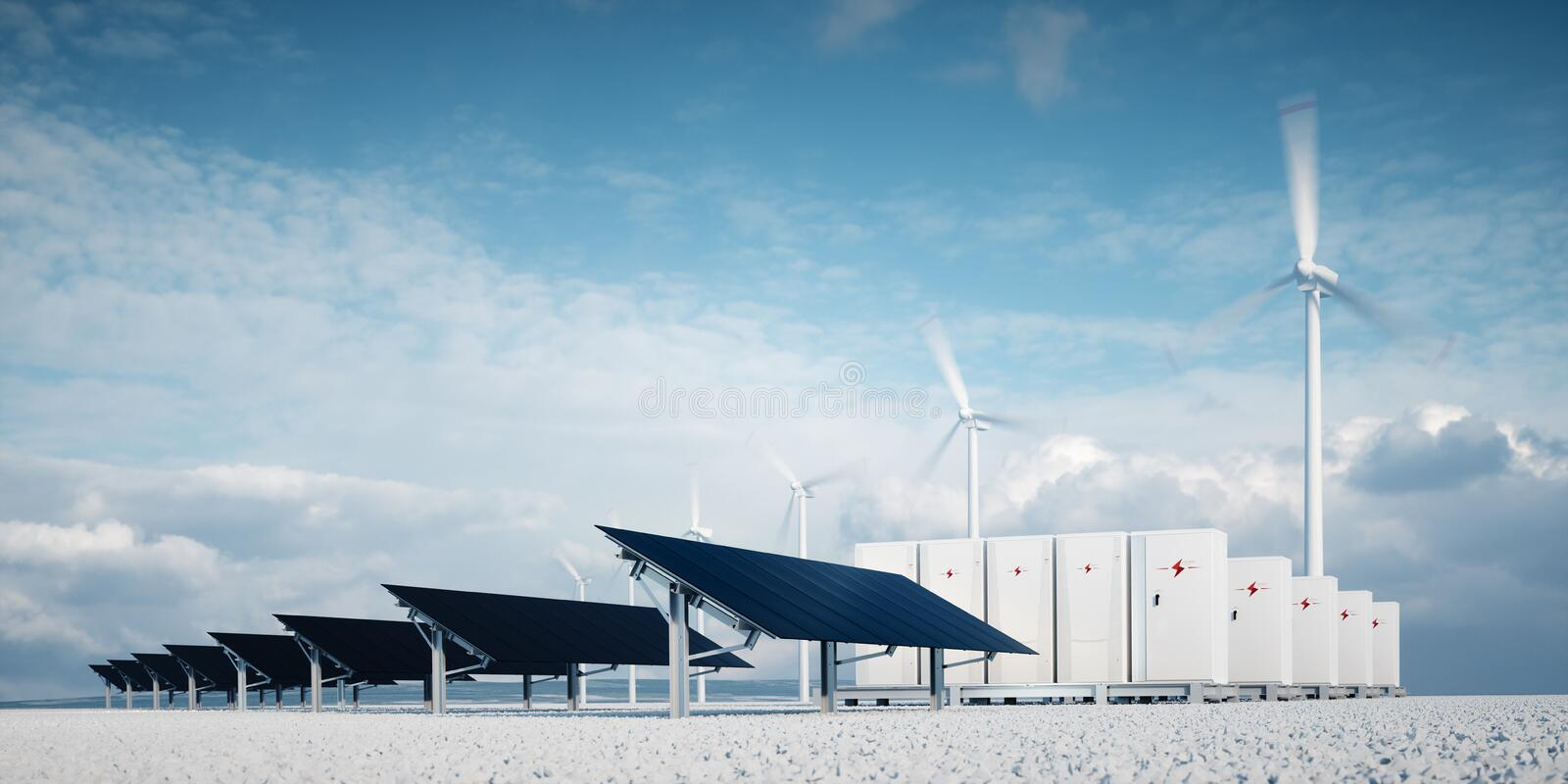 Photorealistic futuristic concept of renewable energy storage. Consisting of modern, aesthetic and efficient dark solar panel panels that are in pleasant stock illustration