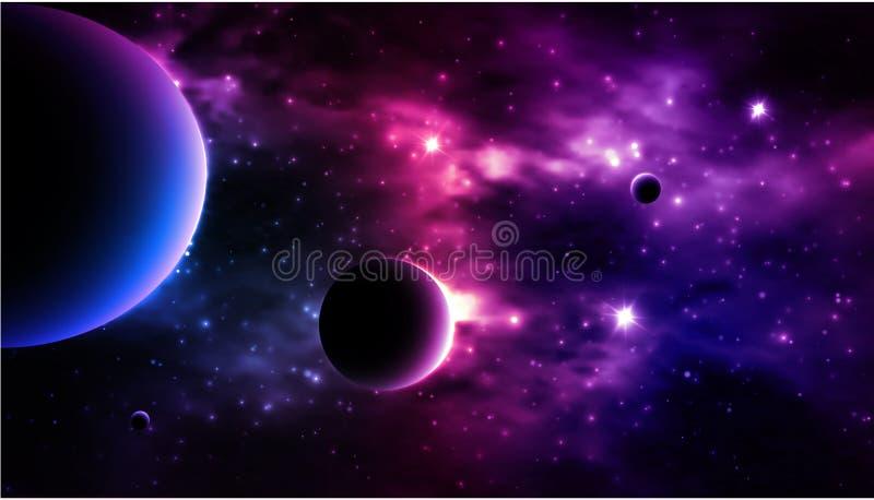 Photorealistic Galaxy background. Vector. Illustration royalty free illustration