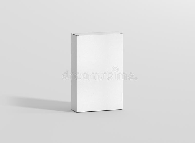Photorealistic high quality Flat Rectangle Cardboard Package Box Mockup on light grey background. High Resolution Texture. Mockup template ready for your stock illustration