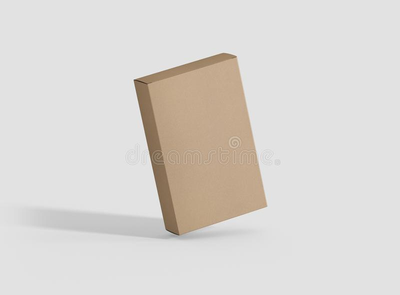 Photorealistic high quality Flat Rectangle Kraft Package Box Mockup on light grey background. High Resolution Texture. Mockup template ready for your design vector illustration