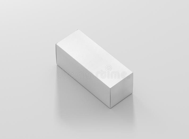 Photorealistic high quality High Rectangle Cardboard Package Box Mockup on light grey background. vector illustration