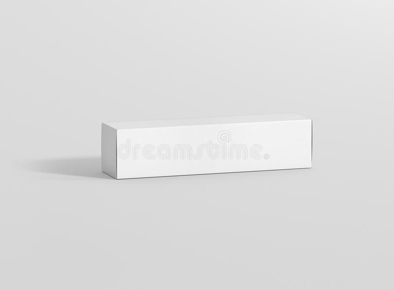 Photorealistic high quality Long Rectangle Cardboard Package Box Mockup on light grey background. vector illustration