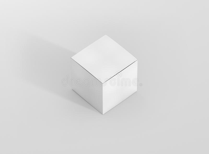Photorealistic high quality Square Rectangle Cardboard Package Box Mockup on light grey background. royalty free illustration