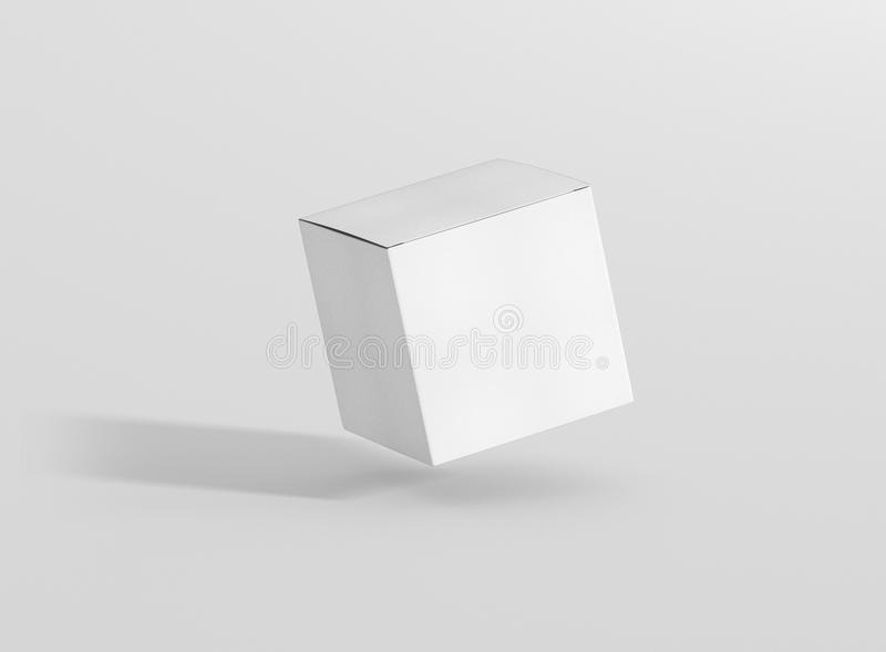 Photorealistic high quality Square Rectangle Cardboard Package Box Mockup on light grey background. vector illustration