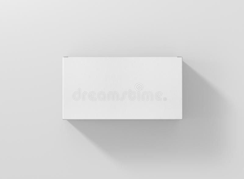 Photorealistic high quality Wide Flat Rectangle Cardboard Package Box Mockup on light grey background. stock illustration