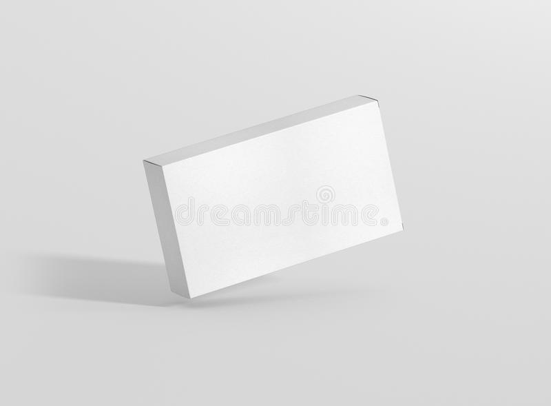 Photorealistic high quality Wide Flat Rectangle Cardboard Package Box Mockup on light grey background. vector illustration