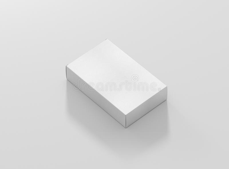 Photorealistic high quality Wide Flat Rectangle Cardboard Package Box Mockup on light grey background. High Resolution Texture. Mockup template ready for your royalty free illustration