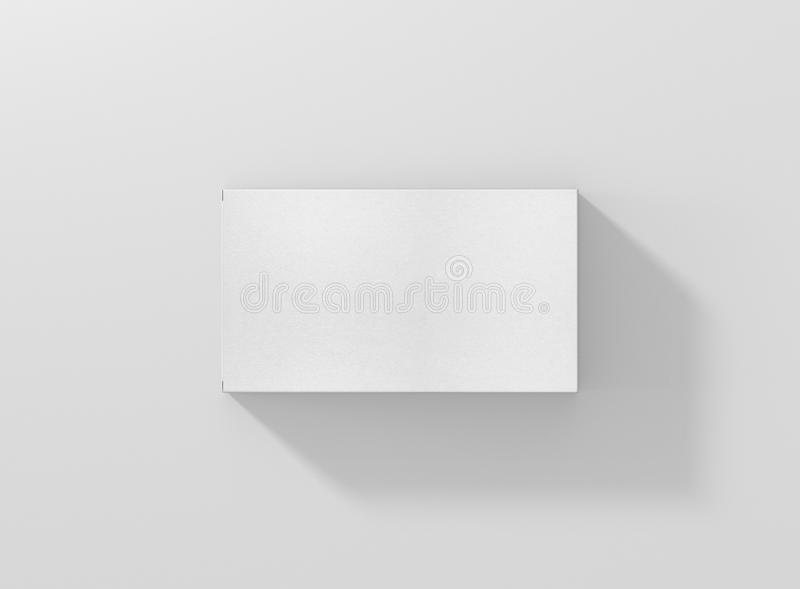 Photorealistic high quality Wide Flat Rectangle Cardboard Package Box Mockup on light grey background. royalty free stock image