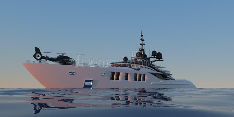 Photorealistic Illustration 3d der extrem ausführlichen und realistischen hohen Auflösung einer Luxussuperyacht lizenzfreie abbildung