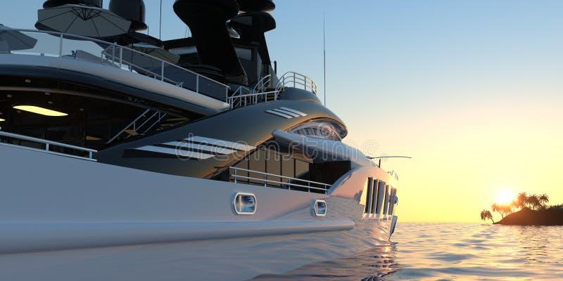Photorealistic Illustration 3d der extrem ausführlichen und realistischen hohen Auflösung einer Luxussuperyacht stock abbildung
