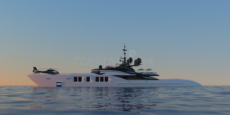 Photorealistic illustration 3d för extremt detaljerad och realistisk hög upplösning av en lyxig toppen yacht royaltyfri illustrationer