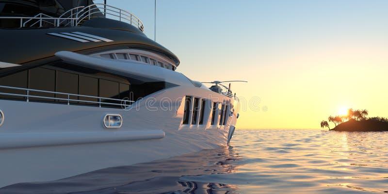 Photorealistic illustration 3d för extremt detaljerad och realistisk hög upplösning av en lyxig toppen yacht vektor illustrationer