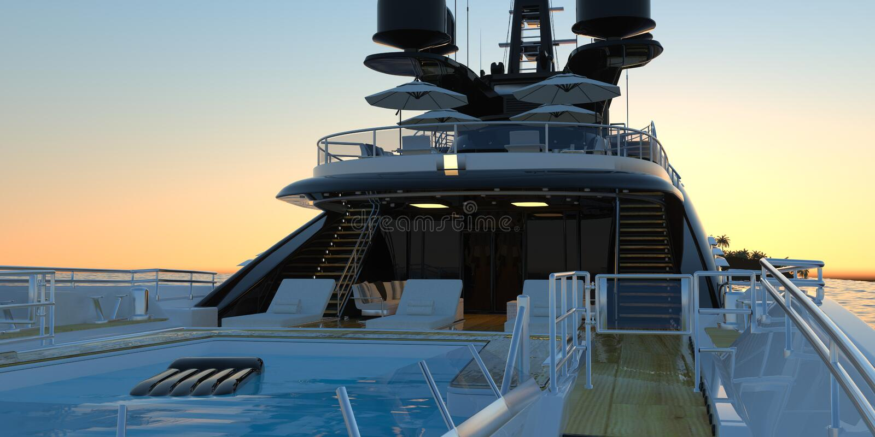 Photorealistic illustration 3d för extremt detaljerad och realistisk hög upplösning av en lyxig toppen yacht stock illustrationer
