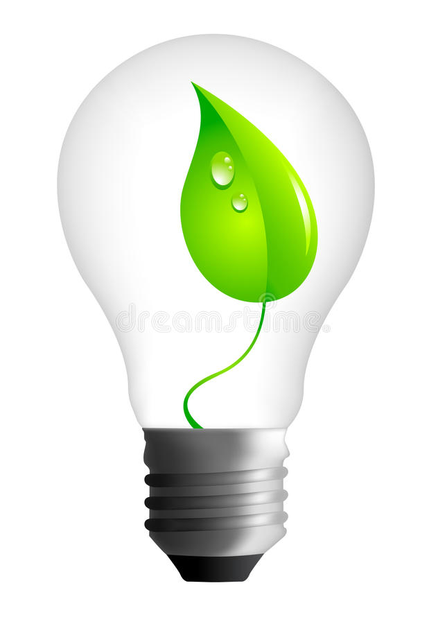 Free Photorealistic Light Bulb Whit A Leaf Stock Photography - 11176712