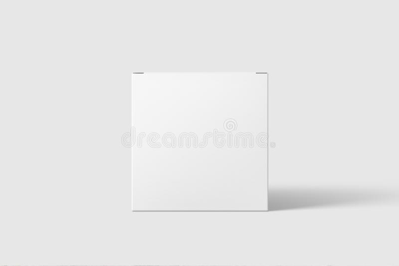Photorealistic Long Square Cardboard Package Box Mockup on light grey background. stock photography