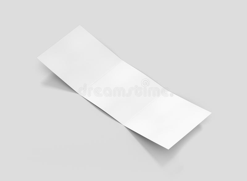 Photorealistic Square Trifold Brochure Mockup on light grey background. stock photography