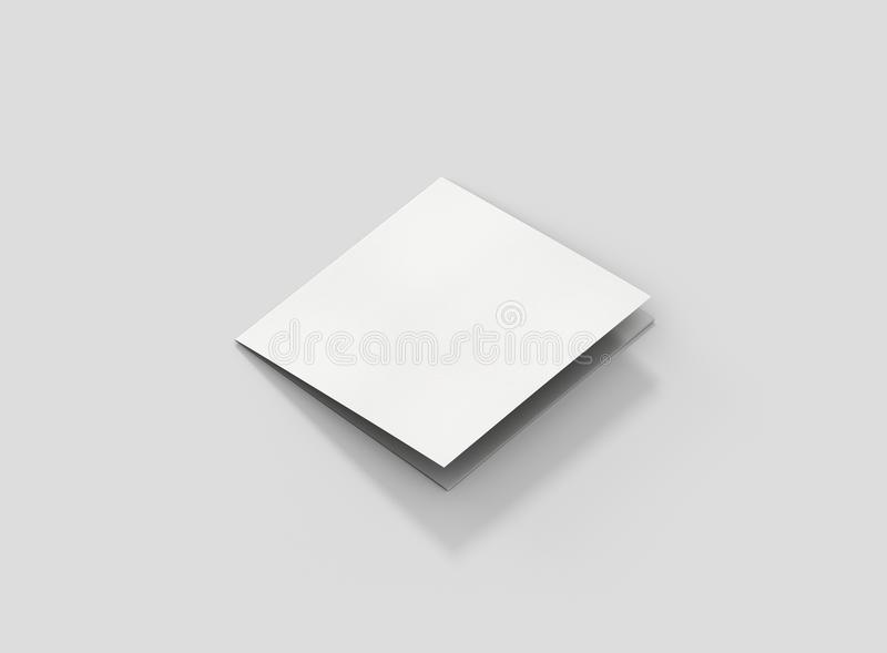 Photorealistic Square Trifold Brochure Mockup on light grey background. Mockup template ready for your design stock illustration