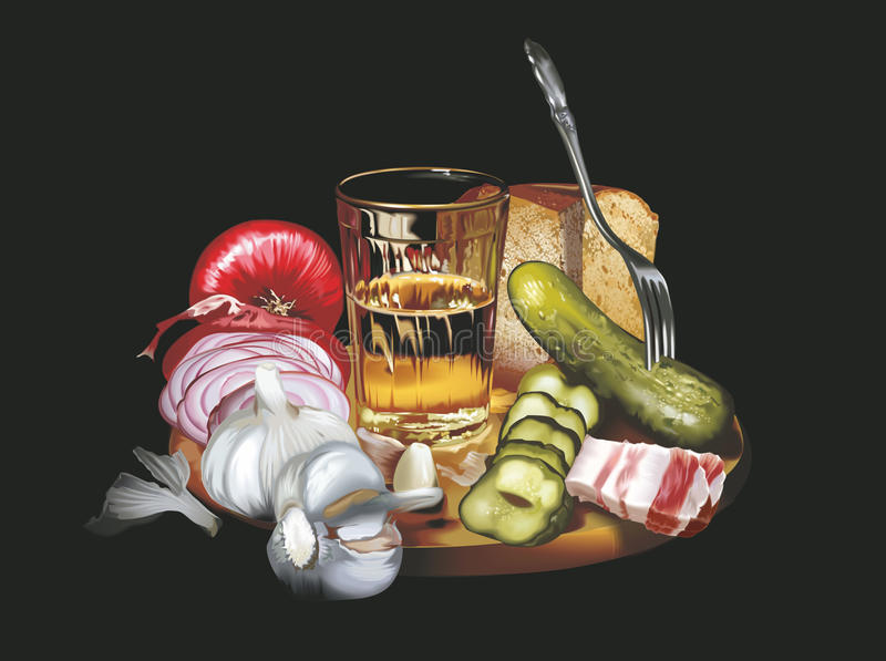 Photorealistic still-life on a black background. The photorealistic still-life on a black background, a vector is executed in program stock illustration