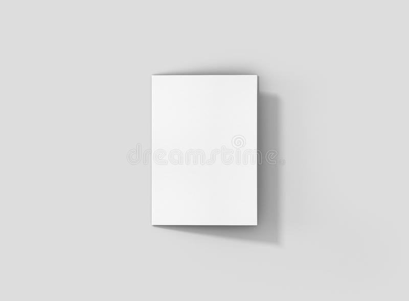 Photorealistic A4 Trifold Brochure Mockup, closed frontside, on light grey background. stock photography