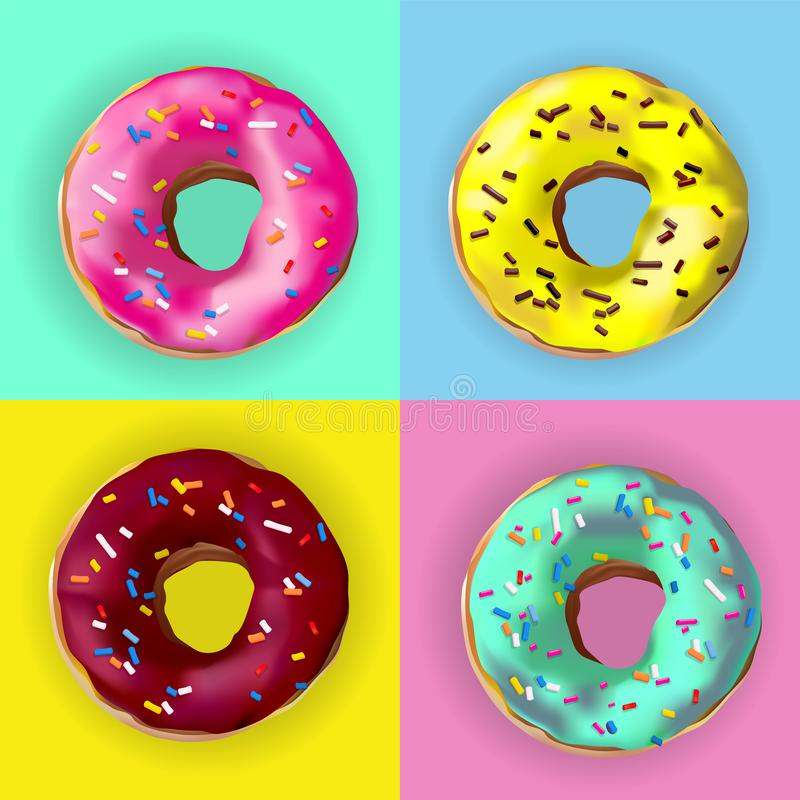 Photorealistic vector colorful donuts with sprinkles, glaze. Set of 4 realstic delicious sweet pink, chocolate, yellow, azure. Donuts american dessert with stock illustration
