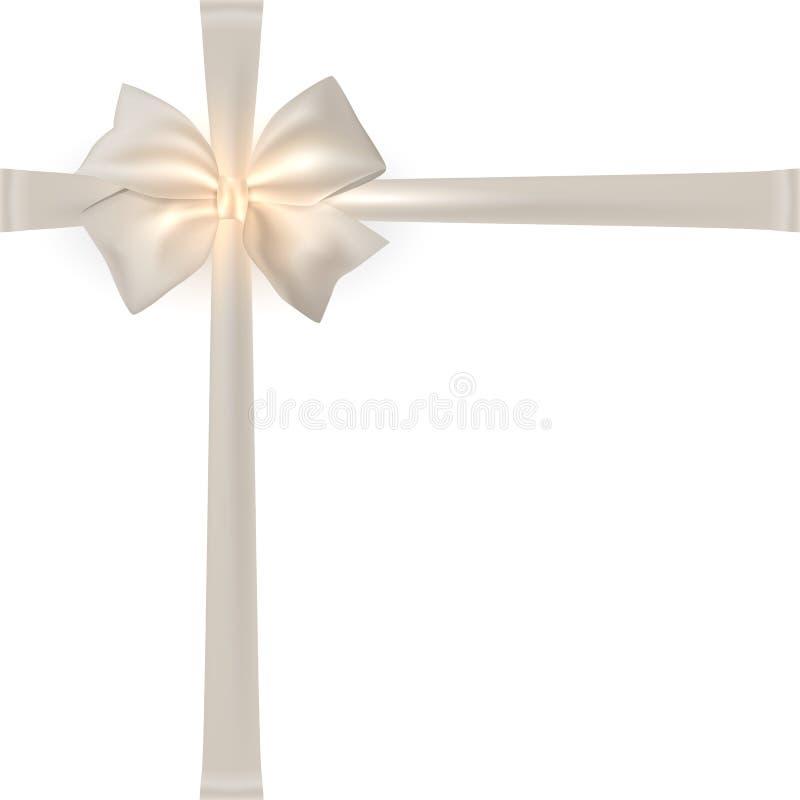 Free Photorealistic White Silk Bow. Stock Images - 46524524