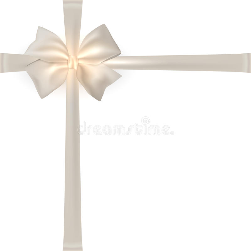 Photorealistic white silk bow. Photorealistic white silk bow with place for text for your holiday design on white background vector illustration