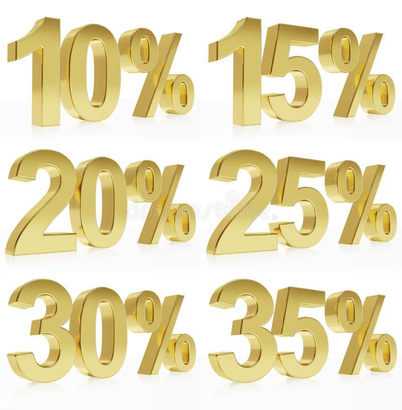 Photorealistic złoty rendering symbol dla % rabatów ilustracja wektor