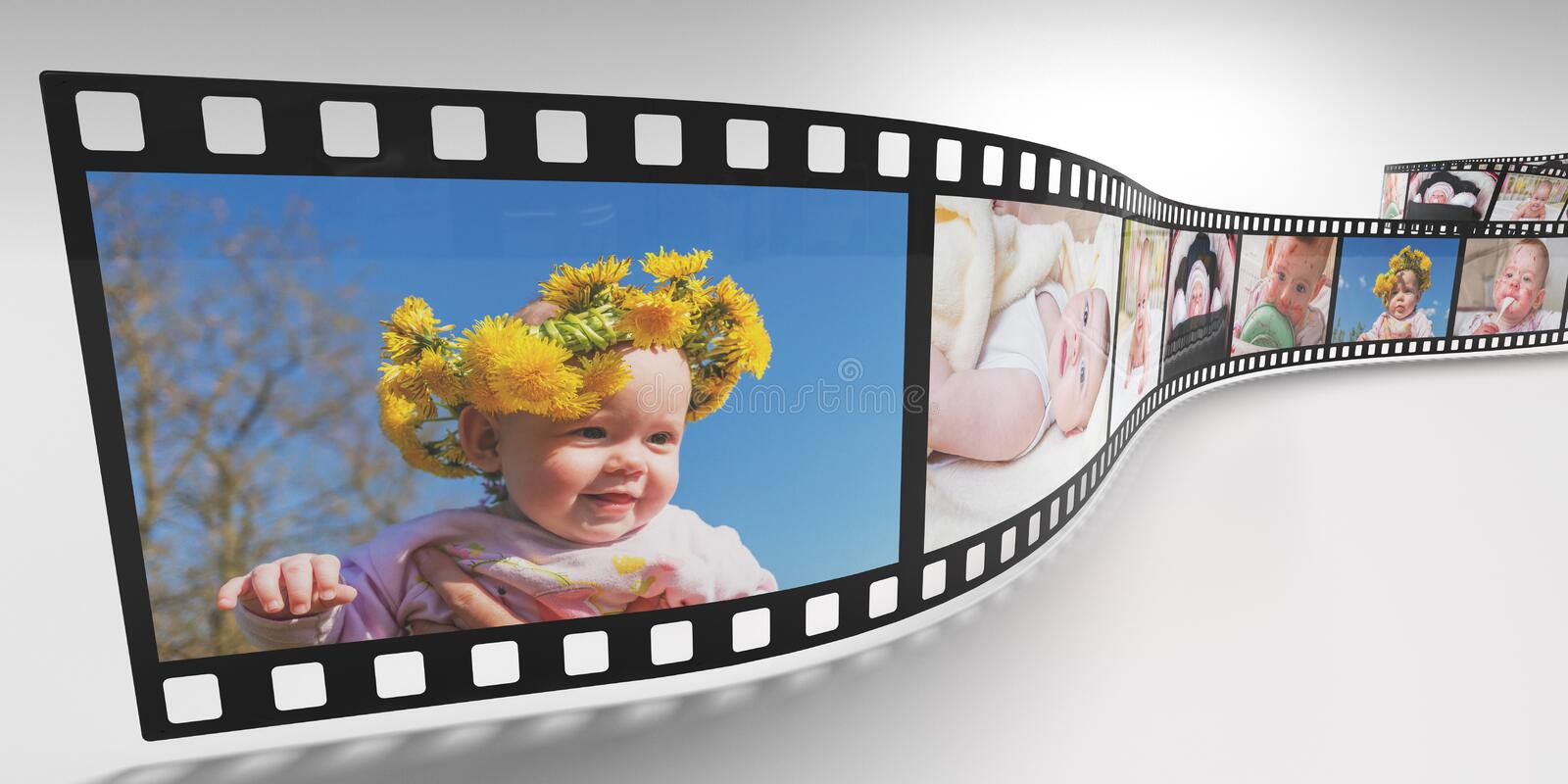 Photos of baby on retro film strip. 3D rendered illustration. Photos of baby on retro film strip. 3D rendered illustration vector illustration