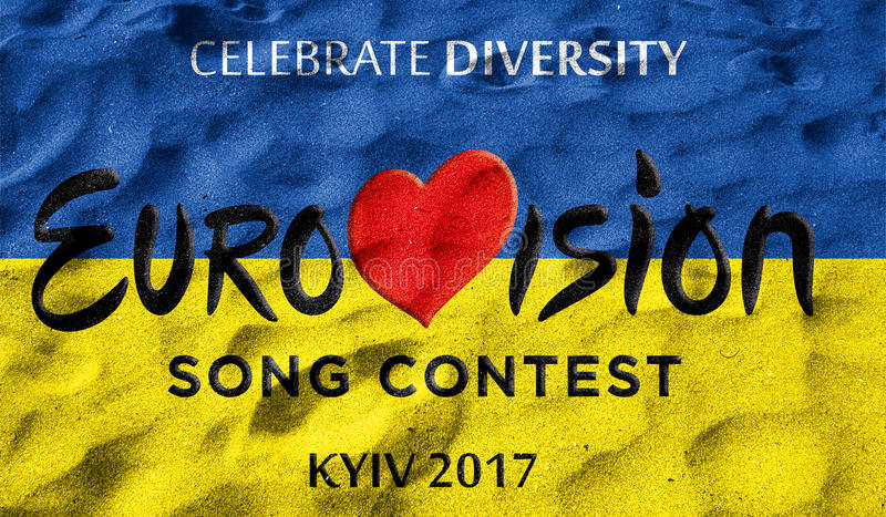 Photos banner with the official logo of the Eurovision, Eurovision 2017 in Kiev.Eurovision Song Contest 2017. Belarus,01 March 201 royalty free illustration