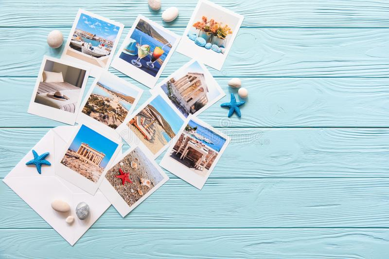 Photos of beautiful moments of happy summer holidays in Greece, copy space royalty free stock image