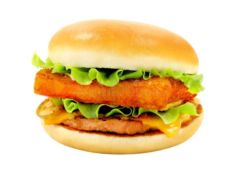 Photos big tasty burger with fish royalty free stock photo
