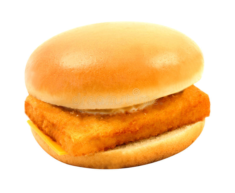 Photos big tasty burger with fish stock image